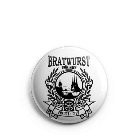 Button 1 inch | Bratwurst Thüringen | Erfurt City | white